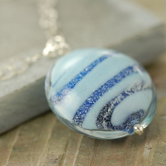 On Sale $30.00 Last One - Stripped blue Venetian glass sterling silver necklace