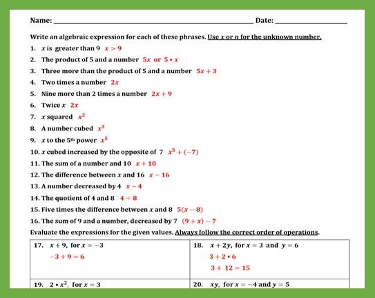 Writing And Evaluating Expressions Worksheet Ii With Images