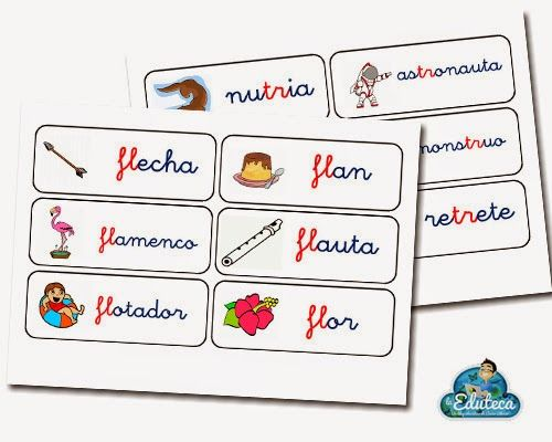 La Eduteca: RECURSOS PRIMARIA | Tarjetas de vocabulario trabadas FL, FR, TR Y TL.: