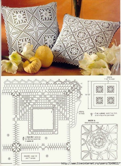 Crochet pillows♥LCP-MRS♥ with diagram: