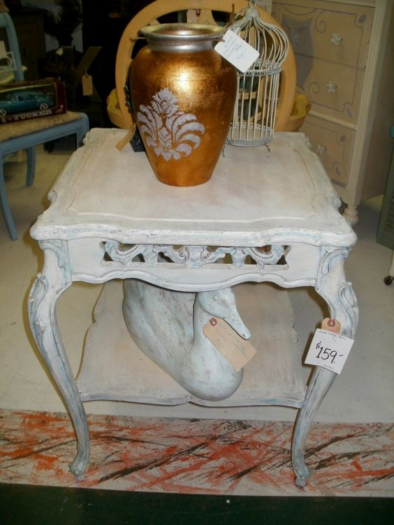 painted end table. Antique country french side table for sale.  Follow me @ deffeye - Photobucket for new antique furniture and accessories.
