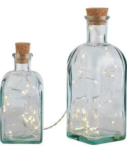 Pair of Square Bottle Lights - Clear.