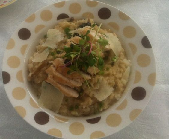 Ginseng and mushroom risotto with green tea steamed chicken.