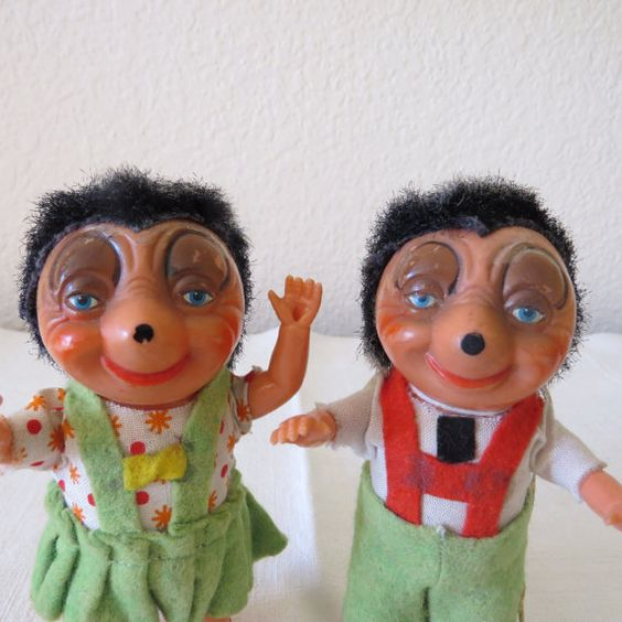 Vintage celluloid dolls 5  tall pair in by FrenchFlairDeLis, $24.99