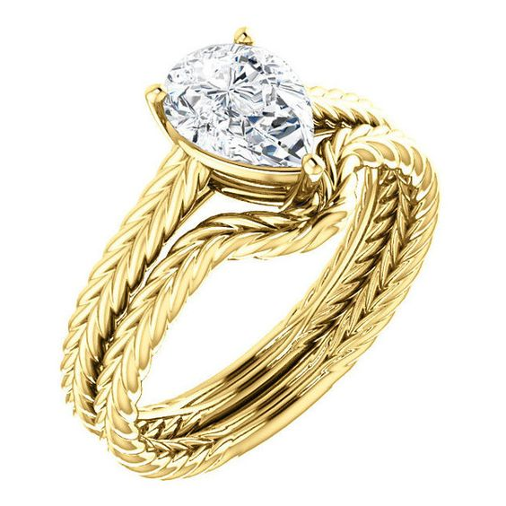 1.25 Ct Pear Diamond Engagement Ring 14k Yellow Gold (€3.405) ❤ liked on Polyvore
