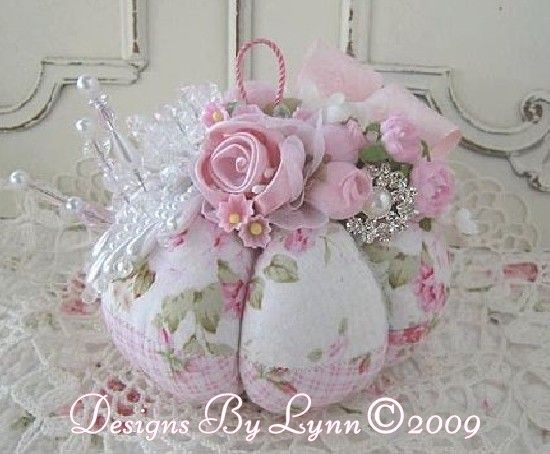 Pink Roses Shabby Romantic Pin Cushion Confection 131 Designs By Lynn-pink, roses, shabby, chic, ruffles, Victorian, Vintage, Lynn,: