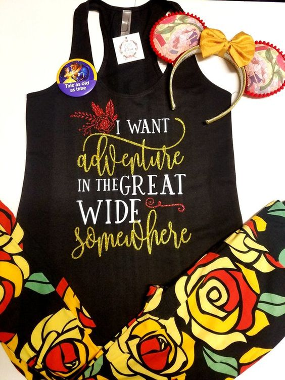 I want Adventure Beauty and the Beast Disney Shirts- Disney Shirts for Women - Glitter Disney Shirt