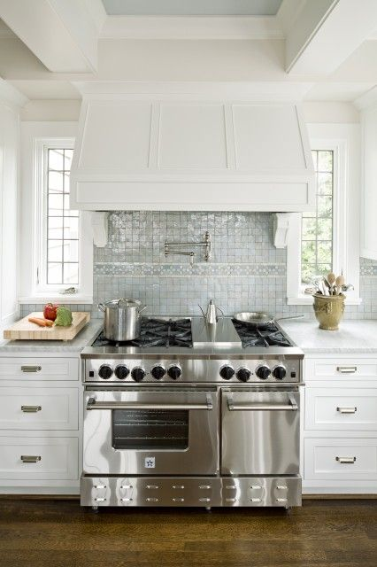 Backsplash Kitchen Ann Sacks Miniature Blue Gl Tile White Shaker Cabinets Carrara Marble