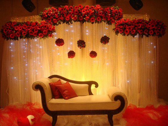 Floral and curtain lights backdrop asianwedding for Background stage decoration