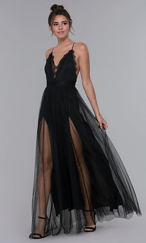1c7b25a9a7b Image of long open-back lace-trimmed v-neck formal dress. Style  LUX-LD4735  Detail Image 1
