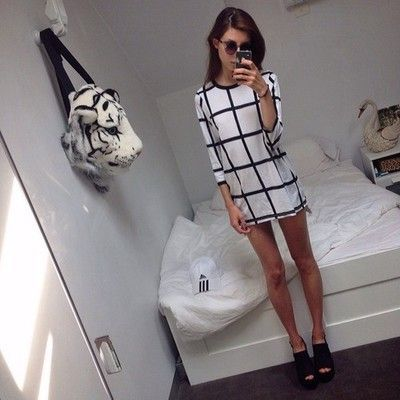 check patten black and white dress