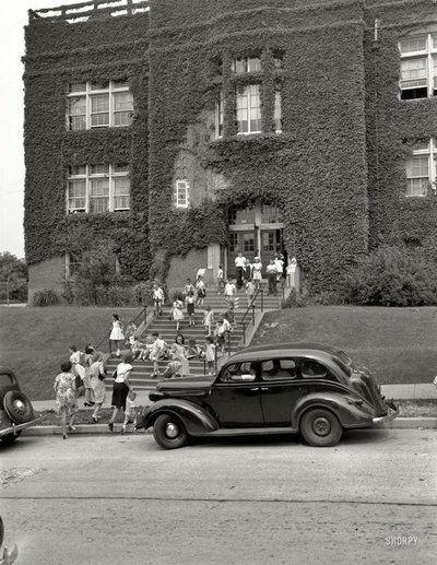 "Washington, D.C., circa 1940. ""Nation's Business. Children leaving Randle School."" Nitrate negative by Theodor Horydczak."