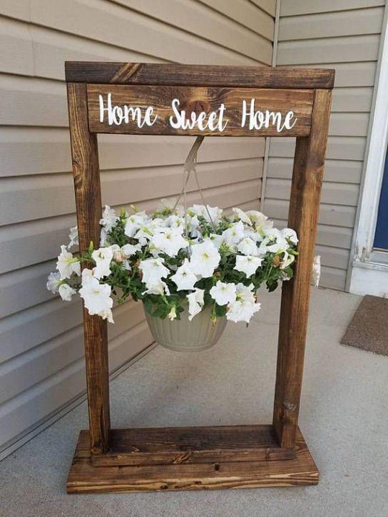 Porch Plants Hanging Flower Basket Stand Woodworking Dekoraciok Kerti Otletek Karacsonyi Dekoracio