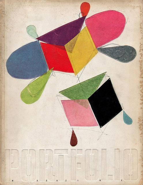 Portfolio magazine cover, 1950. 'Design for a kite' by Charles Eames, reproduced from his original paste-up made with swatches of coloured tissue paper.