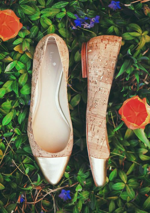 The perfect cork and metallic flats to take on a resort vacation.
