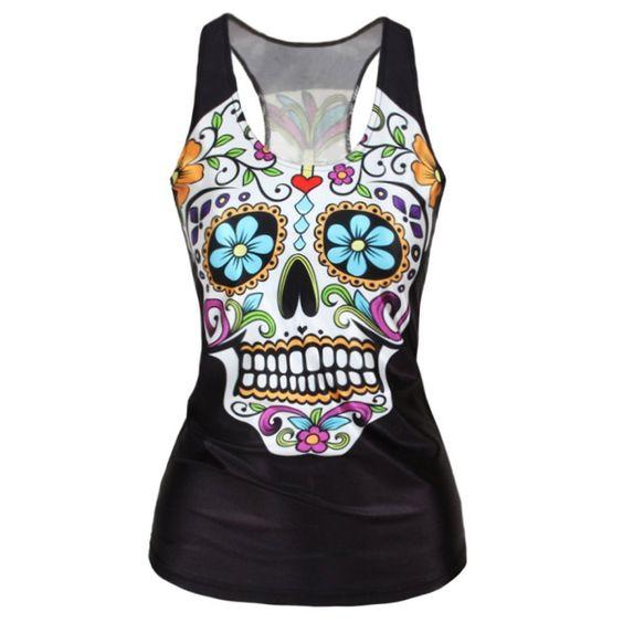 RedExtend Women's Color Skull Slim Gym Sport T-Shirt Vest Tank To