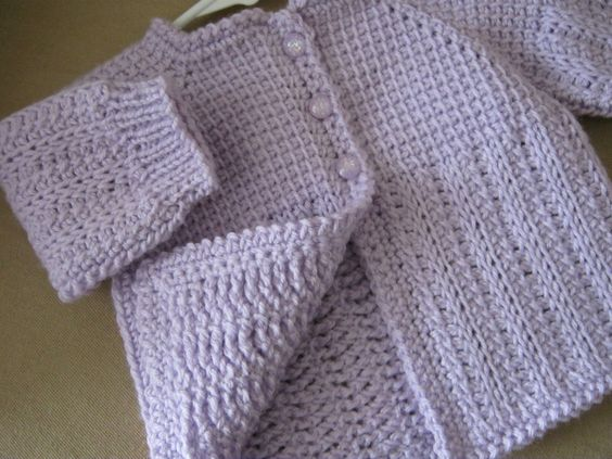 Lilac Purple Crochet Baby Sweater for Girl - 0-3 Months in ...