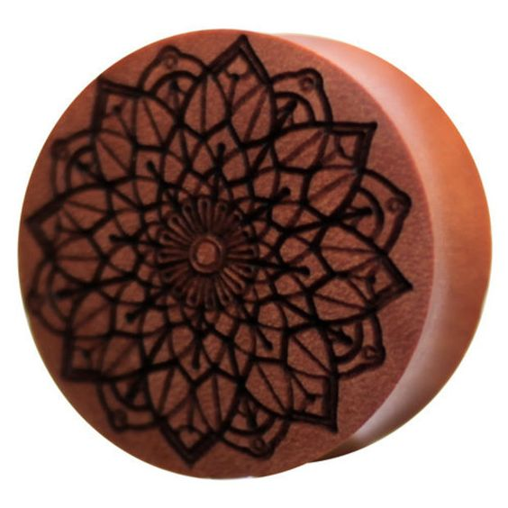 NEW Mandala Saba Wood Plug | UK Custom Plugs Shop for gauges, alternative fashion & body jewellery
