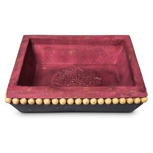 Boho Boutique™ Carved Polyresin Tray - Purple