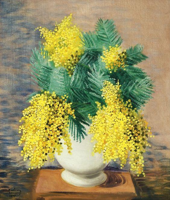 Moïse Kisling, born Mojżesz Kisling (1891-1953) — Bouquets of Mimosa (815x1000):