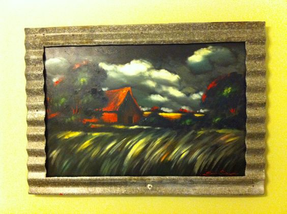 Painting by artist Sergi Cherup Frame made from barn roof destroyed in Katrina
