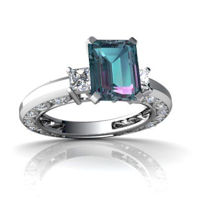 Cheapest 14kt White Gold Lab Alexandrite and Diamond Emerald_Cut Art Deco Ring - Size 4.5