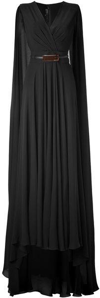 ELIE SAAB Black Belted Cape Back Silk Georgette Gown #style