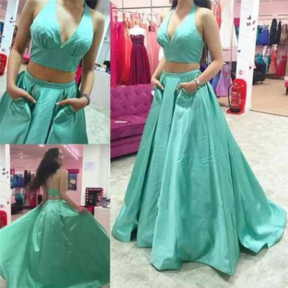 2016 Fashion 2 Piece Sage Green Prom Dresses Long Prom Gowns Evening Dresses Satin Party Dress