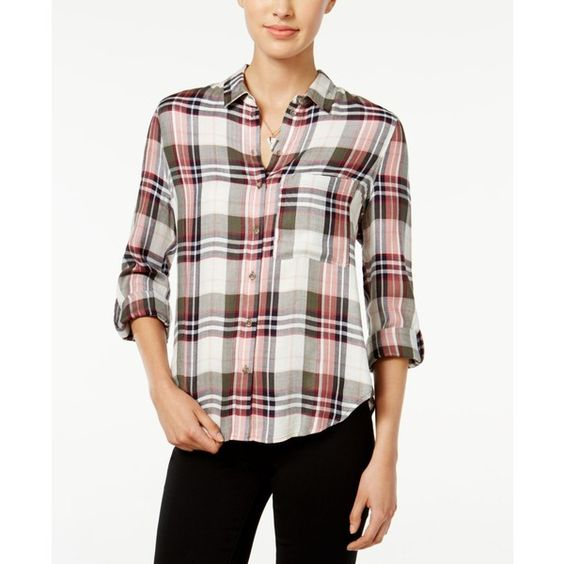 Polly & Esther Juniors' Plaid Roll-Sleeve Shirt ($34) ❤ liked on Polyvore featuring tops, sleeve shirt, shirt tops, roll sleeve shirt, button front tops and roll tab shirt