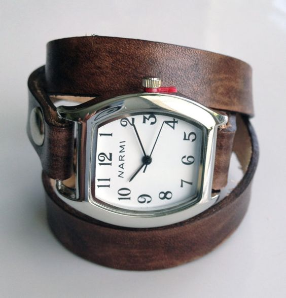 Leather Watch Wrap Bracelet  Made to Order  by LoveThatLeather, $49.00