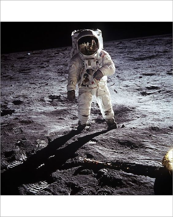 """10x8 Inch (25x20cm) Print (other products available) - Astronaut Buzz Aldrin, lunar module pilot, walks on the surface of the Moon near the leg of the Lunar Module (LM) """"Eagle"""" during the Apollo 11 exravehicular activity (EVA). Astronaut Neil A. Armstrong, commander, took this photograph with a 70mm lunar surface camera. While astronauts Armstrong and Aldrin descended in the Lunar Module (LM) """"Eagle"""" to explore the Sea of Tranquility region of the Moon, astronaut Michael Coll"""