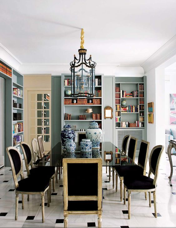Chic Dining Room By Mayte Baquedano Of Madrid Love The Color Of Bookcases In