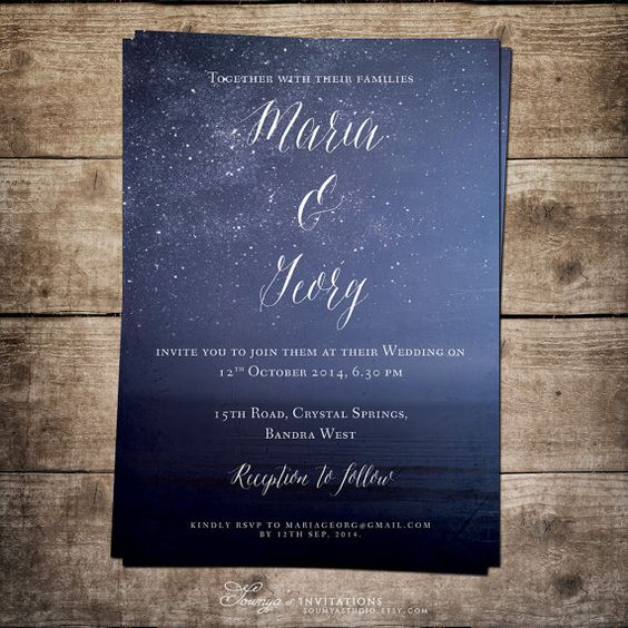 Printable Wedding Invitation Blue Wedding by soumyastudio on Etsy, $15.00