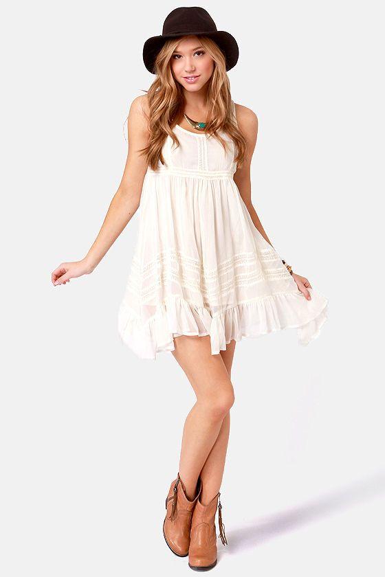 Billabong Ever So Sweet Cream Babydoll Dress  Shorts Billabong ...