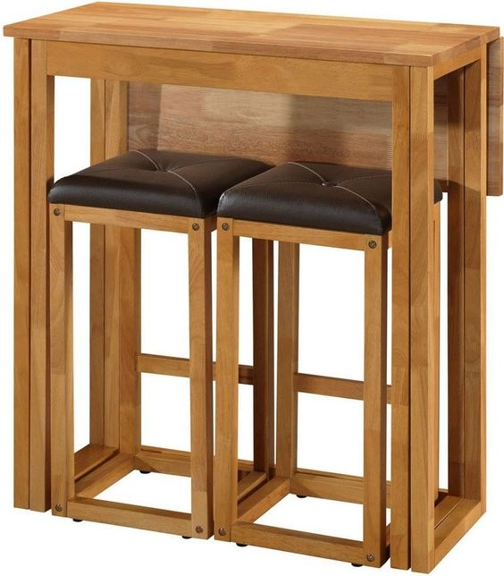 Matchless Oak Breakfast Bar Stools With Folding Leaf Table