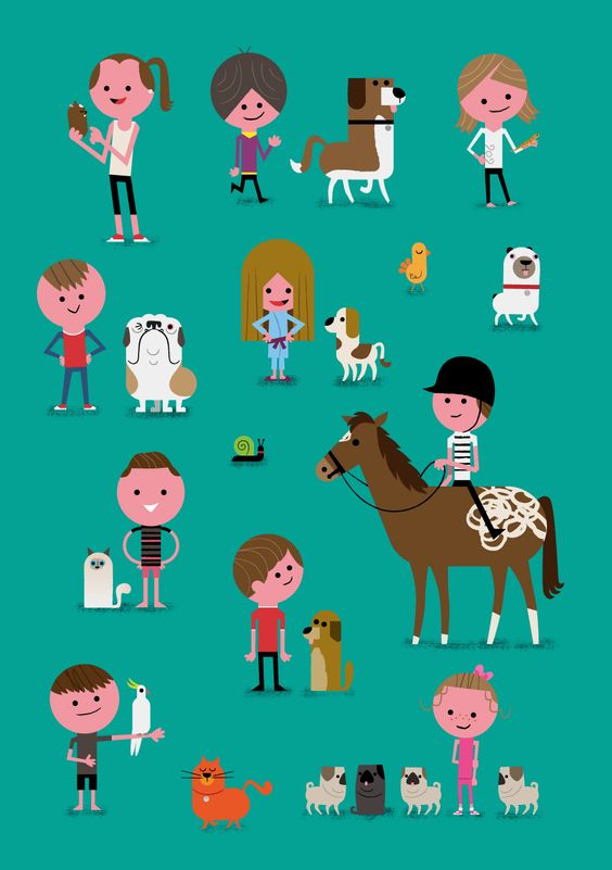 Some of the many 'kids and their pets' combos I illustrated recently for an ABC kids TV show called Pet Superstars.