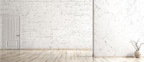 Interior Background Of Empty Room With Brick Wall Vase With