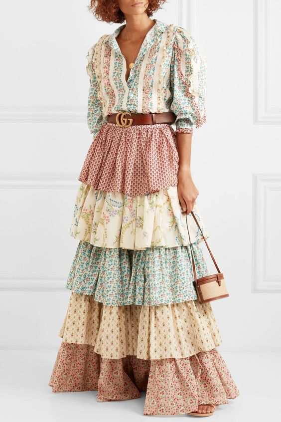 Ivory Tiered printed cotton maxi skirt | Gucci | NET-A-PORTER