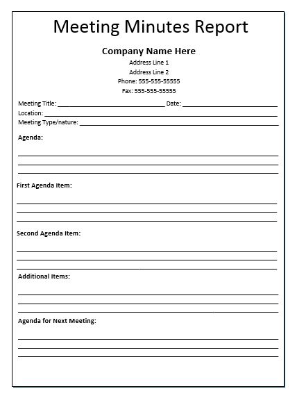 Meeting Minutes Report Template ayesha work Pinterest Relief - sample meeting minutes