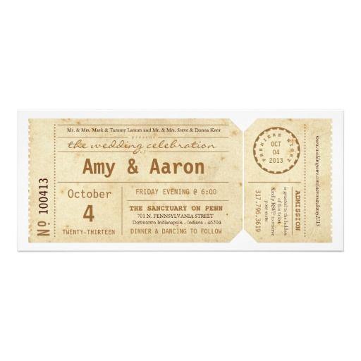 Vintage Movie Theater Ticket Wedding Invitation