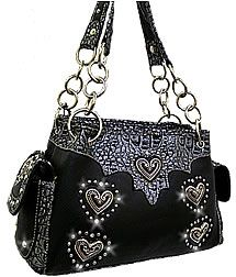 Black/Gray 5-Heart Chain Strap Handbag - Price $55.00 + Shipping - Original MSRP: 99.00  Available: http://www.facebook.com/#!/profile.php?id=100003462507665