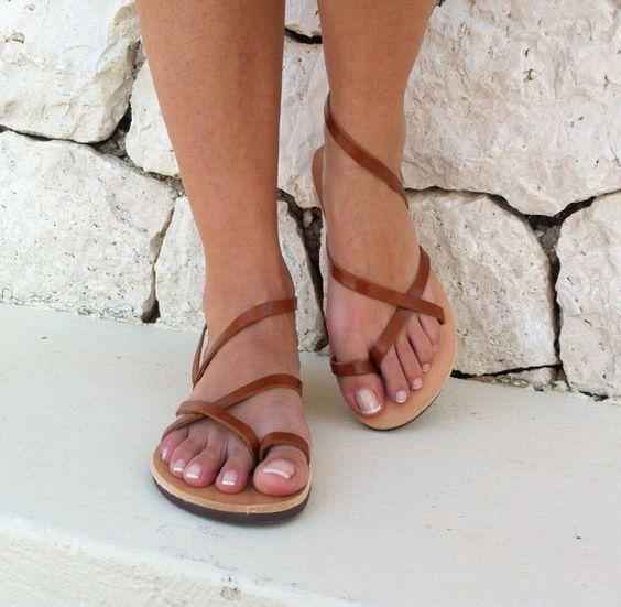 Frauen Sandalen Gurt-Sandale braun Sandalen von GrecianSandals