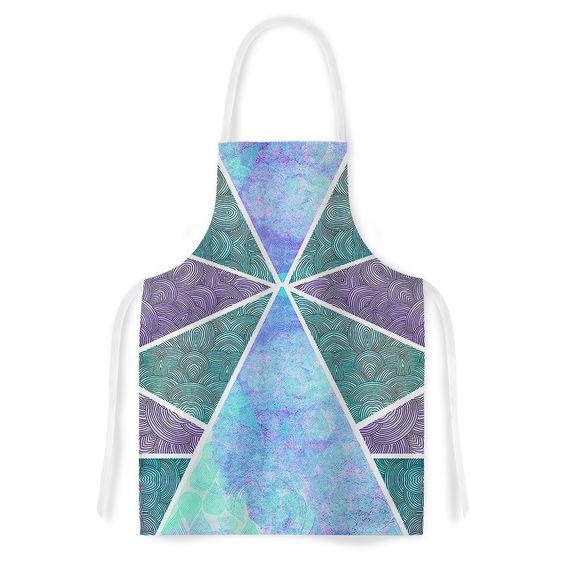 "Pom Graphic Design ""Reflective Pyramids"" Teal Purple Artistic Apron"