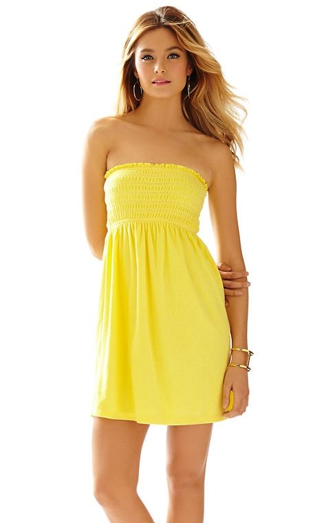 Lilly Pulitzer Brigitte Strapless Smocked Dress in Sunglow Yellow ...
