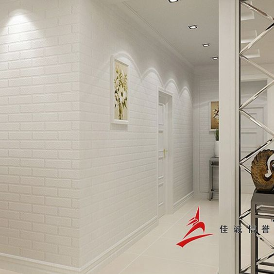 Barato papel de parede de tijolo branco grosso para for Papel barato pared
