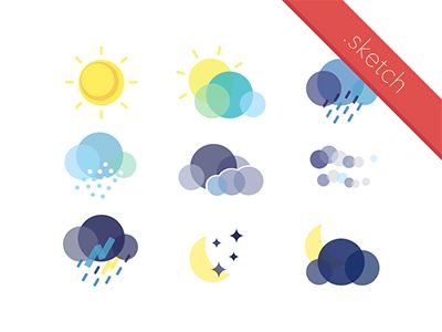 Flat Weather Icon Set, for kids, learn about sun, cloud, rain, snow