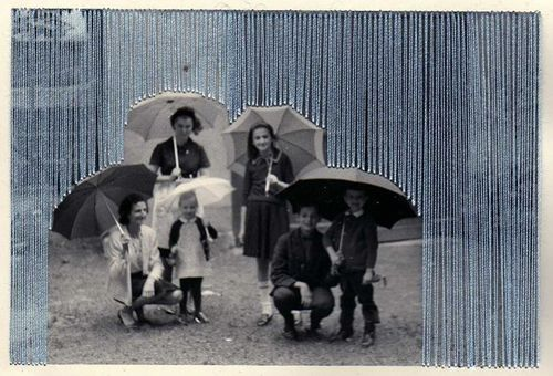 rain by flore gardner. embroidered photograph.: