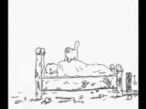 Animierte Katze weckt ihr herrchen auf XDXD