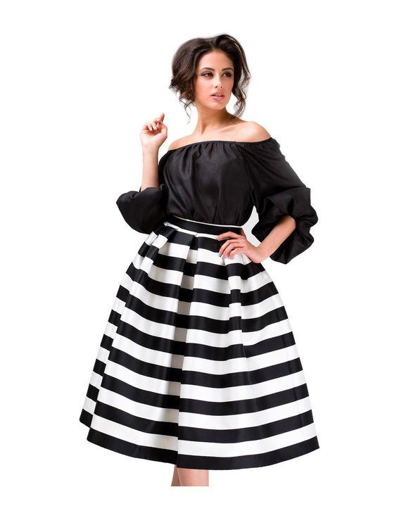 Полосатая миди-юбка из тафты с диагональной текстурой