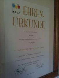 Ehrenurkunde der R. Herzog Maler GmbH in Köln (50933)   Maler.org
